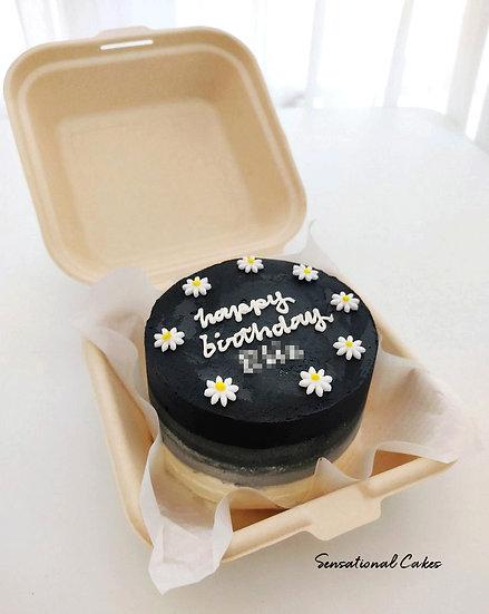 Black Daisy Bento 2D Customized Mini Cake