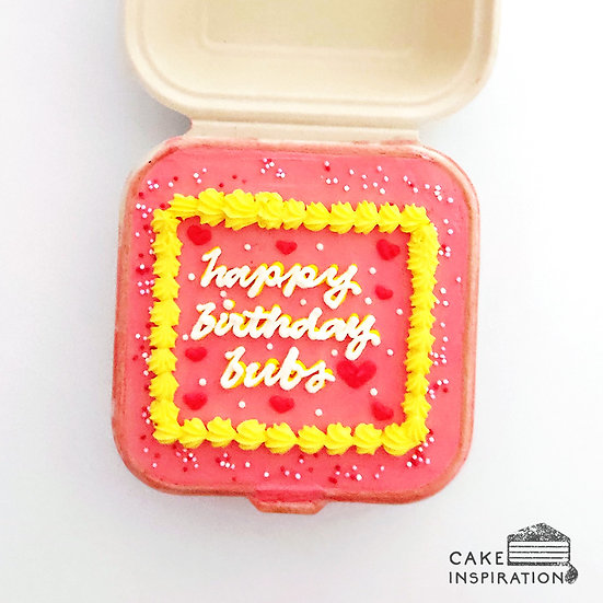 Pink and Yellow Boarder Square Bento Cake (S18)