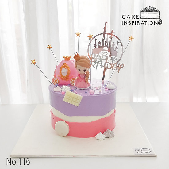 Lovely Princess With Carriage Topper Cake ( no.116) - 6inch