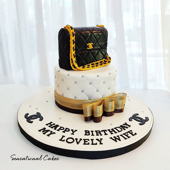 Black Luxury Bag Woman Theme 3D Customized Cake