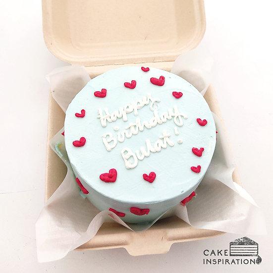 Pastel Blue Hearts Round Bento Cake (R27)