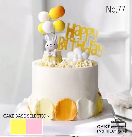 Happy Rabbit in Balloon Topper Cake ( no.77 ) - 6inch