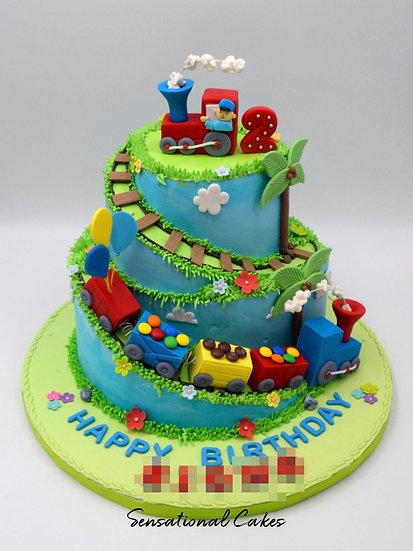 Boy In Train Children Theme 3D Figurine Customized Cake