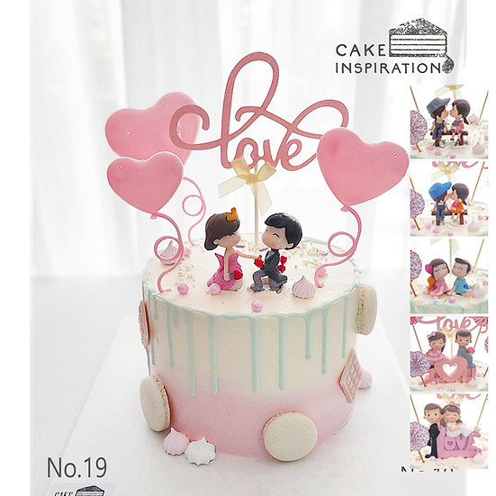 Couple Spring Hearts Topper Cake ( no.19 ) - 6inch