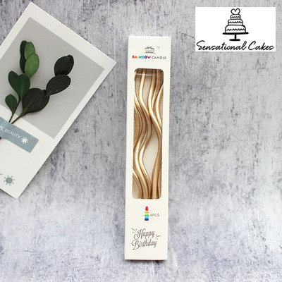 Metallic twist candle / Champagne Gold ( 6 pieces per pack )