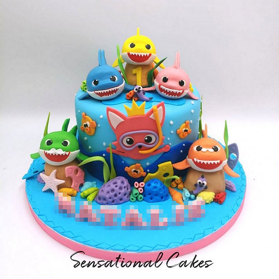 Baby Shark Underwater Children Theme 3D Figurine Customized Cake