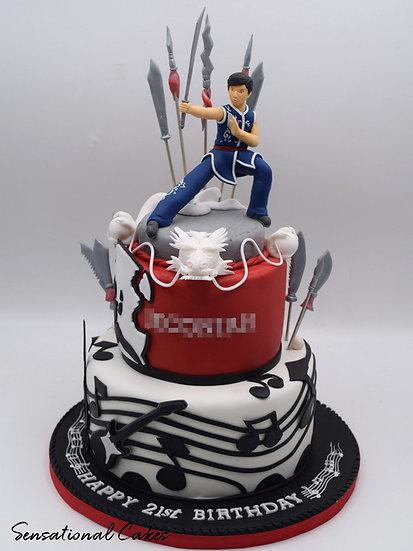 Martial Arts & Music Man Theme 3D Figurine Customized Cake