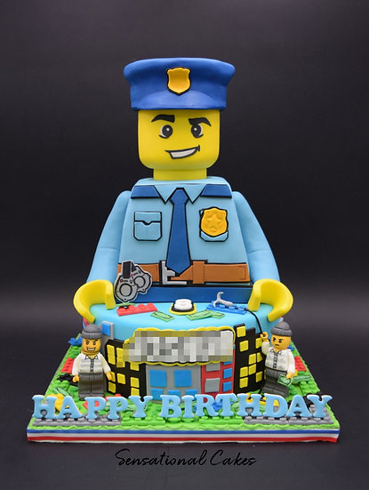Policeman Children Theme 3D Figurine Customized Cake