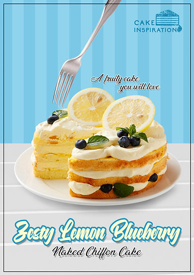 NEW! Zesty Lemon Blueberry Naked Chiffon Cake