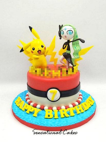 Pika & Girl Children Theme 3D Figurine Customized Cake