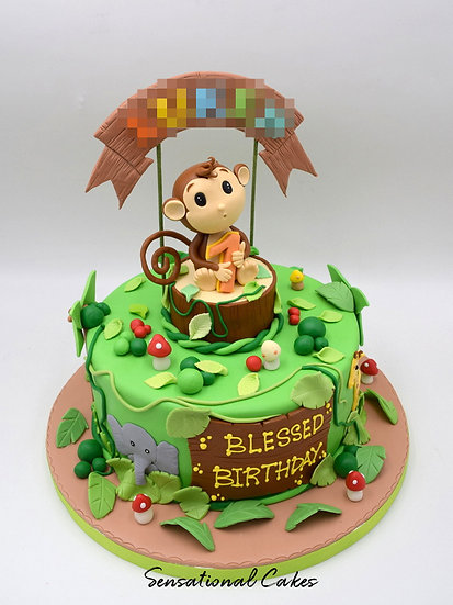 Monkey Jungle Children Theme 3D Figurine Customized Cake