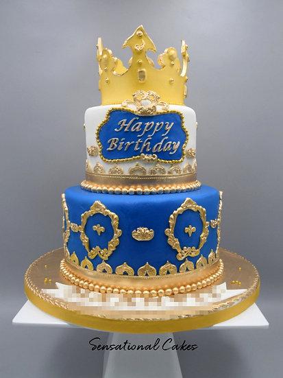 Golden Crown Man Theme 3D Figurine Customized Cake