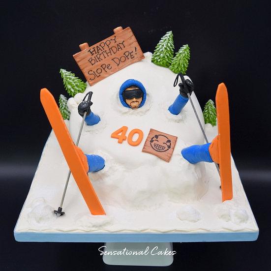Skiing Man Theme 3D Figurine Customized Cake