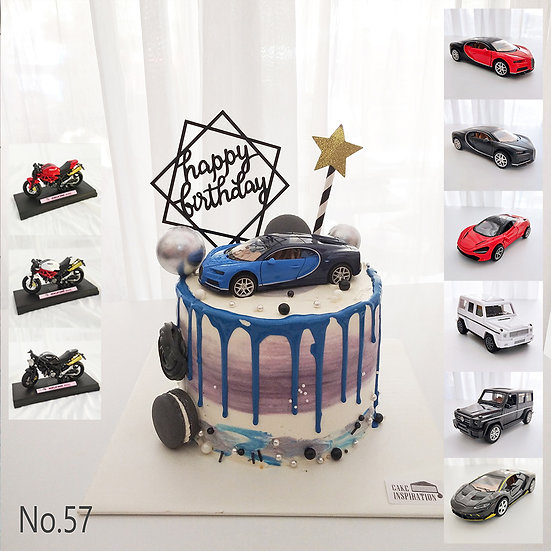 Drip Luxury Car Blue Black Topper Cake ( no.57 ) - 6inch