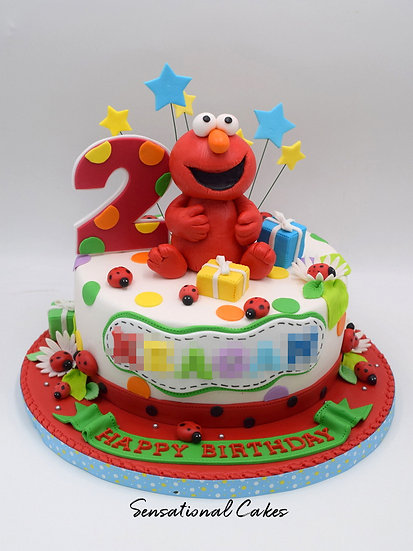 Red Monster Children Theme 3D Figurine Customized Cake