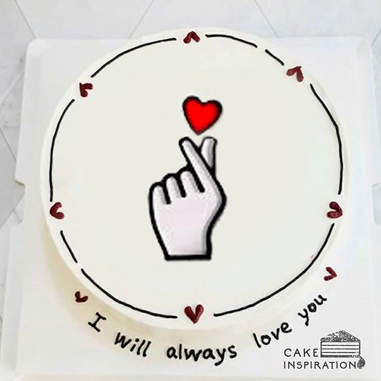 Cartoon Style - Finger Heart Simple Cake (C54) - 5inch