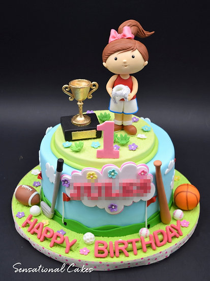 Champion Trophy Sports Girl Children Theme 3D Figurine Customized Cake