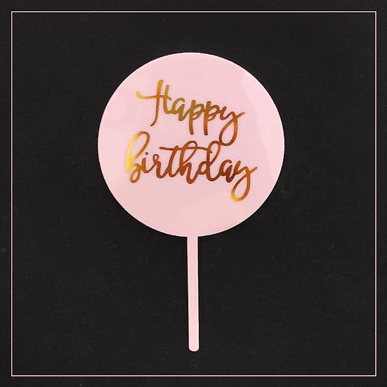 Happy Birthday - Acrylic Tag - Pink Round