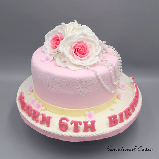 Roses and Pearls Children Theme 3D Figurine Customized Cake