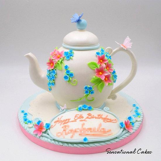 Floral Teapot Children Theme 3D Figurine Customized Cake