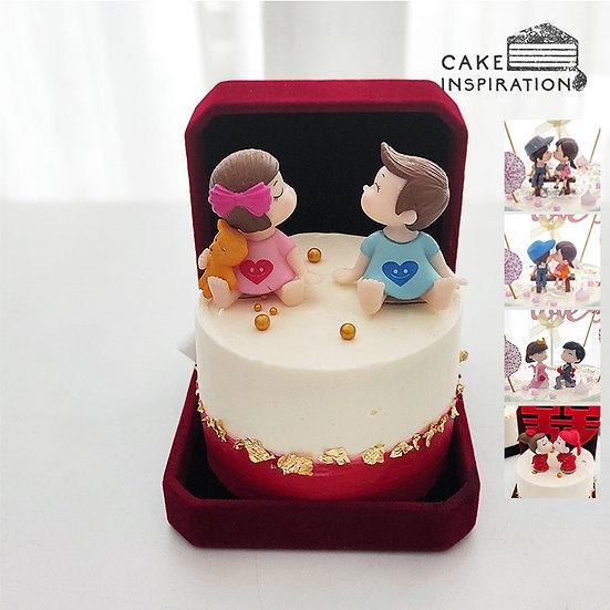 Two Tone Couple Jewel Box Bento Cake (JB10)