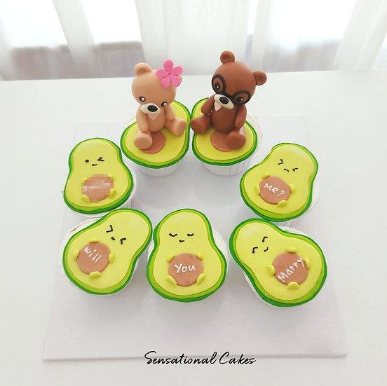 Avocado & Bear Proposal Customized Cupcake