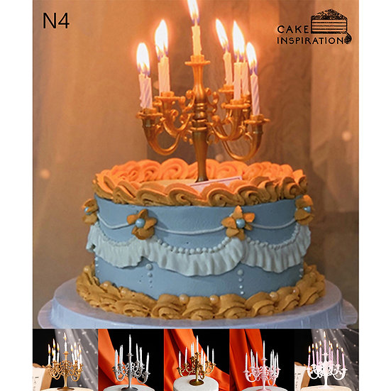 (N4) Classic Gold Blue Victorian Style Cake - 6inch