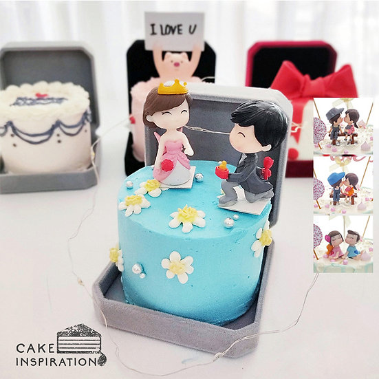 Happy Couple With Daisy Jewel Box Bento Cake (JB02)
