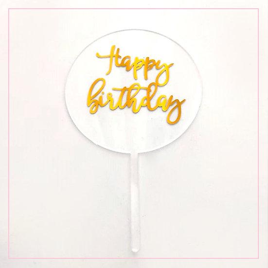 Happy Birthday - Acrylic Tag - Clear Round