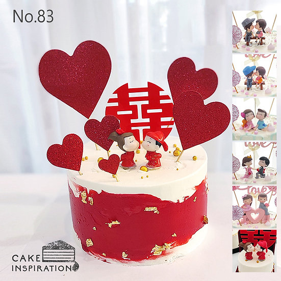 Two Tone & Hearts Happy Couple Topper Cake ( no.83 ) - 6inch
