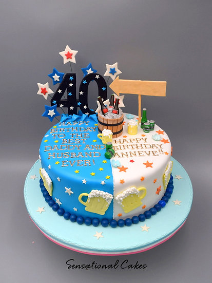 Duo Tone for 1 or 2 Friends Man Theme 3D Figurine Customized Cake