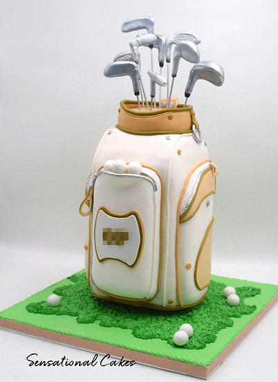 Golf Bag Man Theme 3D Figurine Customized Cake