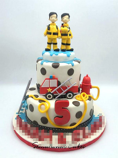 Fireman Children Theme 3D Figurine Customized Cake