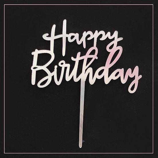 Happy Birthday - Acrylic Tag - Silver Writing