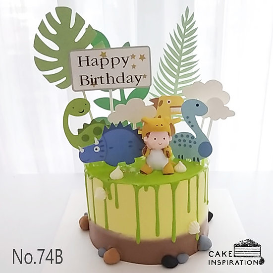 Boy & Dino Friends Topper Cake ( no.74B ) - 6inch