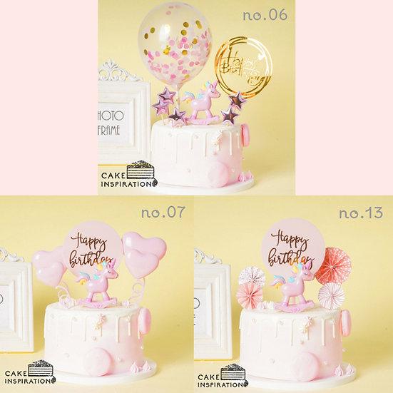Single Unicorn Topper Cake ( no.06, 07 & 13 ) - 6inch