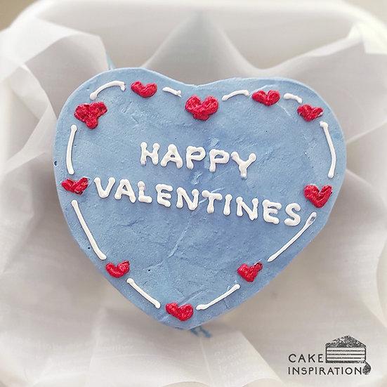 Simple Blue Heart Bento Cake (H06)