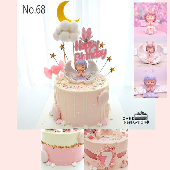 Delightful Little Angel Wings Topper Cake ( no.68 ) - 6inch