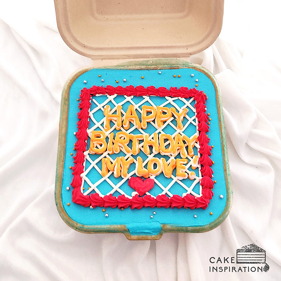 Blue and Red Square Bento Cake (S12)
