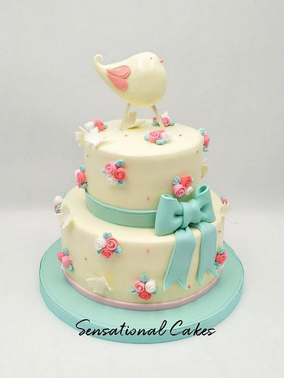 2 Tier Bird & Flowers Children Theme Customized Cake