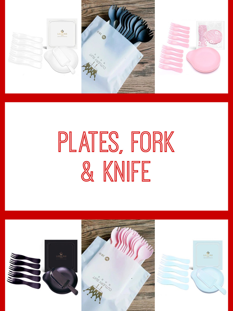 Plates, fork & knife
