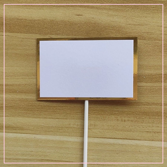 Cake Tag - Blank Rectangle Paper Gold