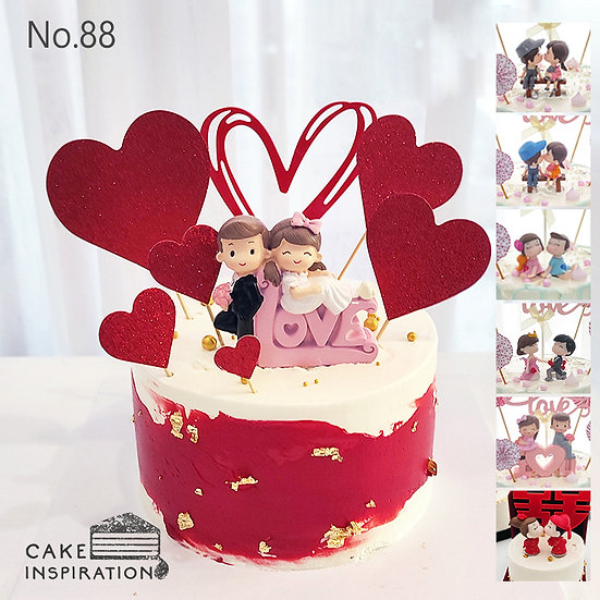 Hearts All Over Couple Topper Cake ( no.88 )- 6inch