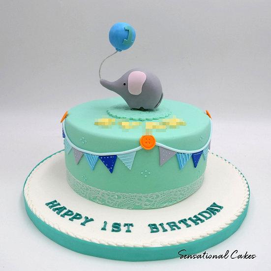 Elephant With Balloon Children Theme 3D Figurine Customized Cake