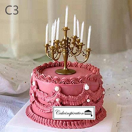 (C3) Elegant Burgundy Victorian Style Cake - 6inch