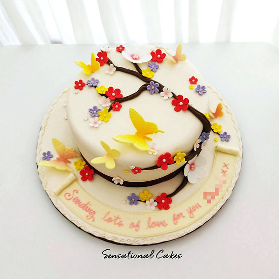 Floral Garden Woman Theme 3D Customized Cake