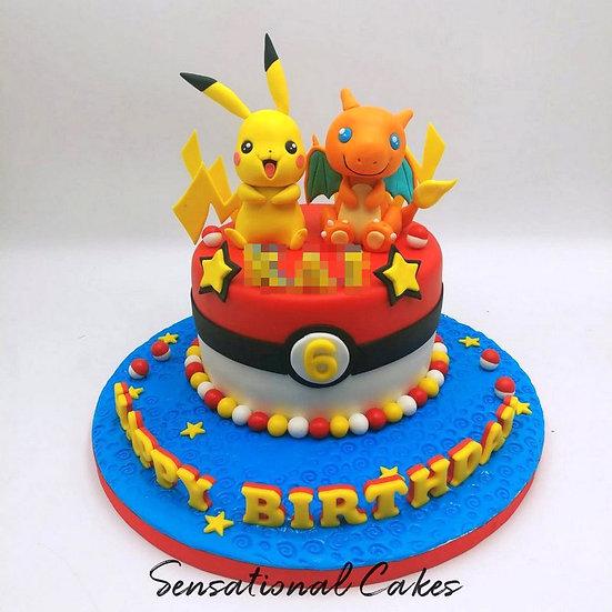 Pika & Friend Children Theme 3D Figurine Customized Cake