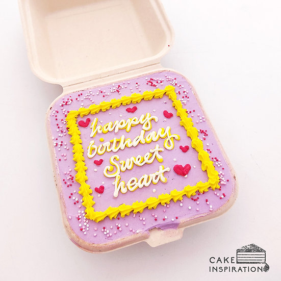 Hearts and Yellow Boarder Square Bento Cake (S08)
