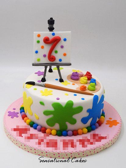Paint Brush Stroke Children 3D Figurine Customized Cake