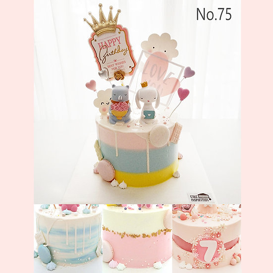 Lovely Rabbit and Bear Topper Cake ( no.75 ) - 6inch